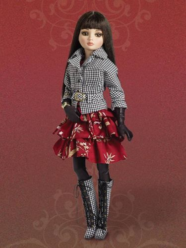 Tonner Ellowyne Wilde Checkmate Outfit Houndstooth Jacket & Boots, Wet-Look Stockings & Gloves, Red-Floral, Sleeveless, Mulit-teared Dress. i'm getting ready to list this right now 10/24/0214