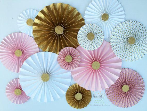 Gold Bridal Shower Hen Party Pink /& Blue Gold Paper Fans Foil Paper Fans,Gold Party Decorations Hip Hip Hooray Bachelorette Decor