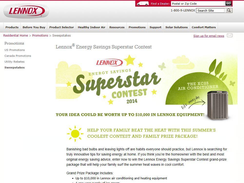 2014 Lennox Energy Savings Superstar Contest Save Energy Solar