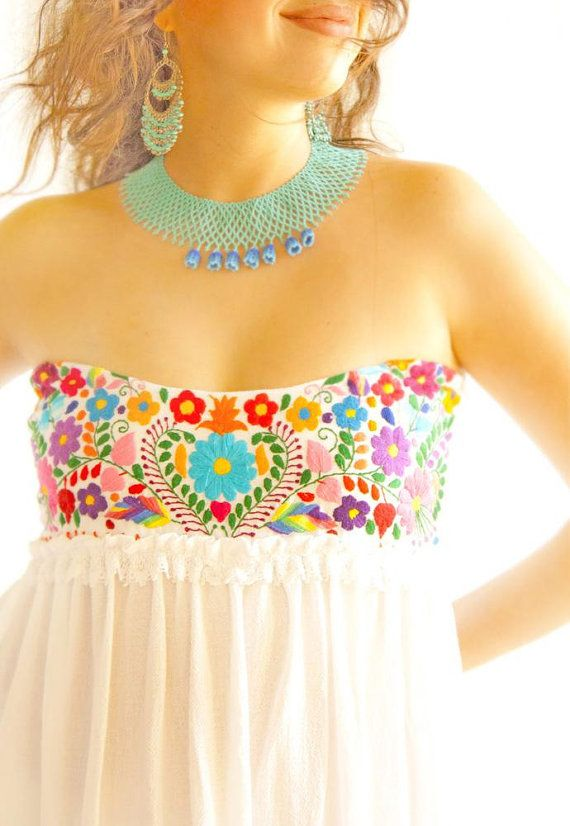 Corazon Mexicano maxi dress boho wedding dress embroidered ruffled layered crochet gown EXPRESS SHIPPING