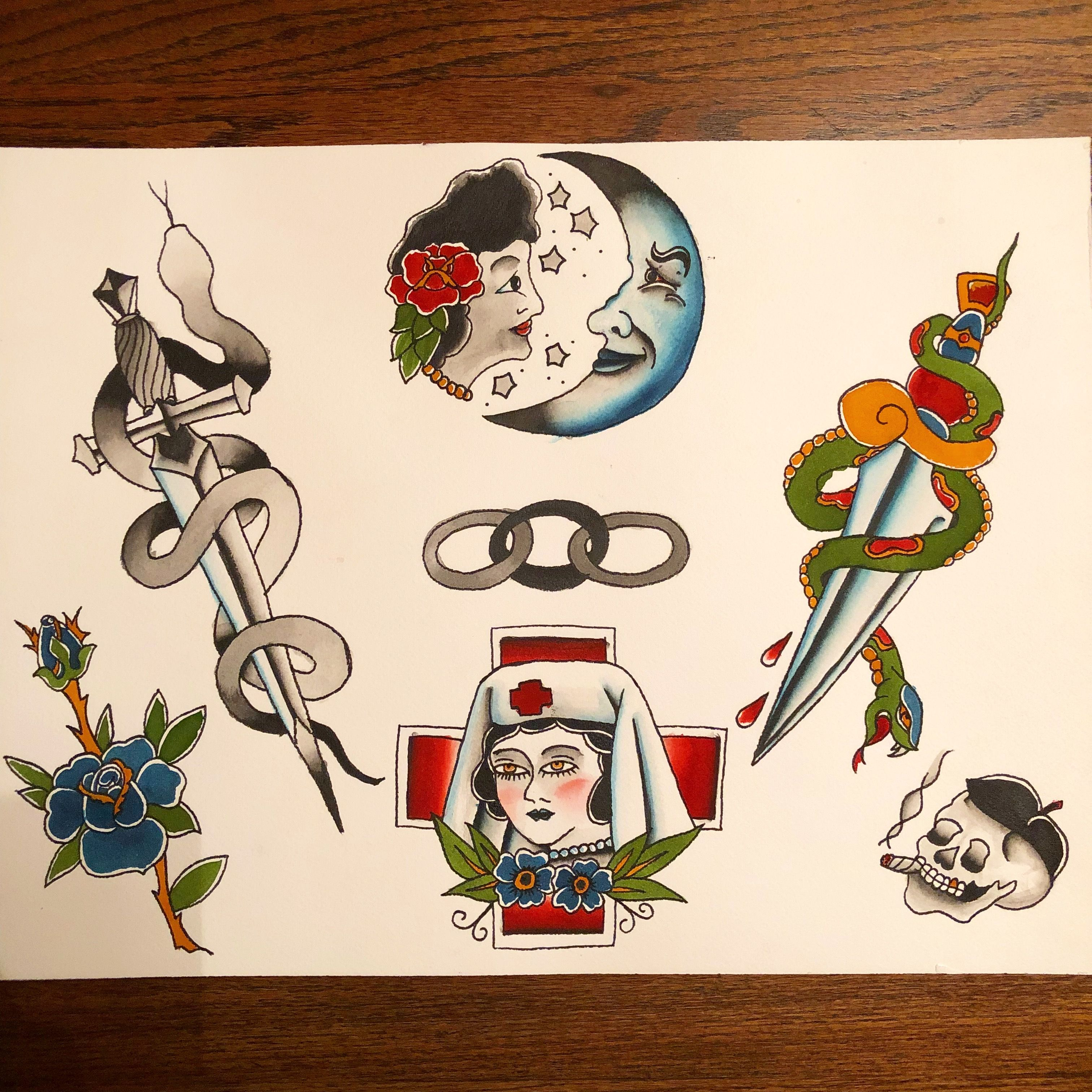 Old School Vintage Style American Traditional Tattoo Flash Designs