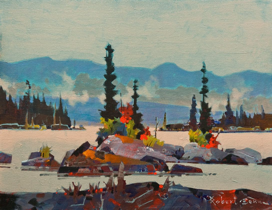 Choice Islets, Squirrel Cove, Cortes Island, B.C., by Robert Genn 14 x 18 - acrylic $5000 Unframed