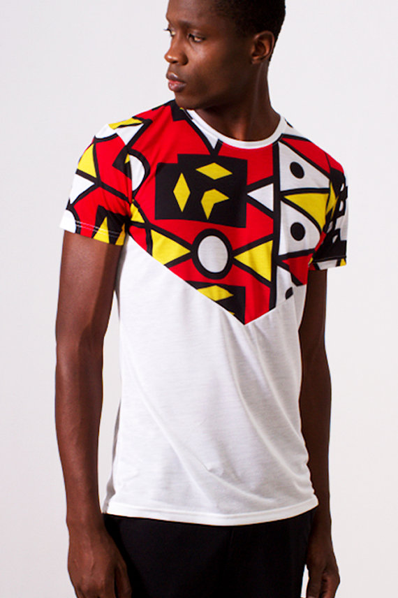 667ca462767 White V-Design T-Shirt with African Print - Samakaka Print from Angola