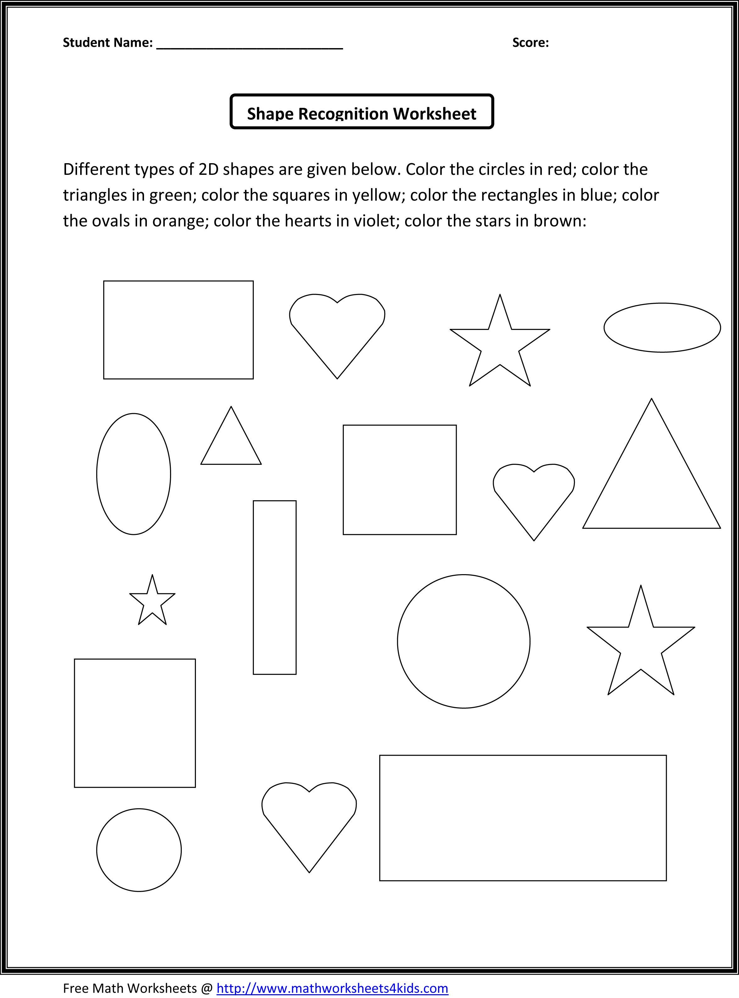 3d Shapes For Kids Worksheets cakepins.com   Shape worksheets for  preschool [ 3174 x 2350 Pixel ]