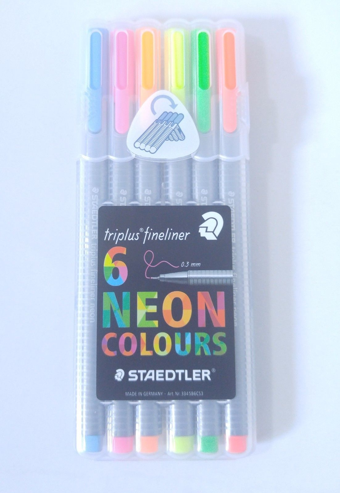 Staedtler Triplus Fineliner 334Sb6Cs3 0.3Mm 6 Assorted Neon Colors Pen Set