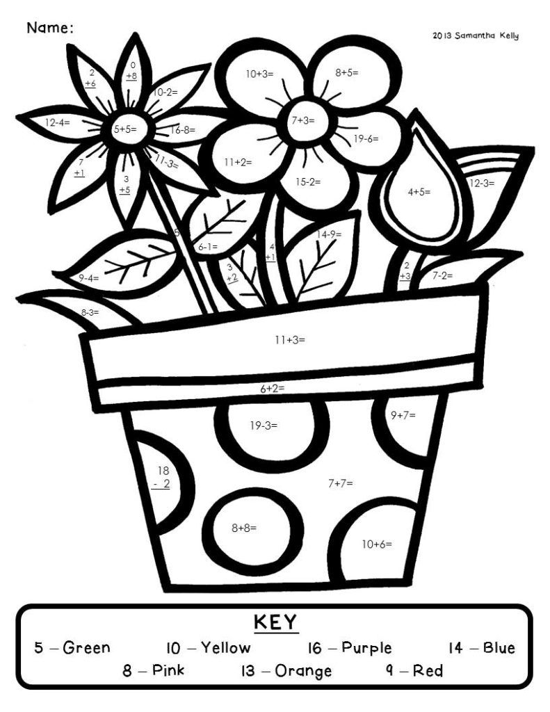 Addition Worksheets Math Coloring Worksheets Math Coloring Spring Math [ 1024 x 791 Pixel ]