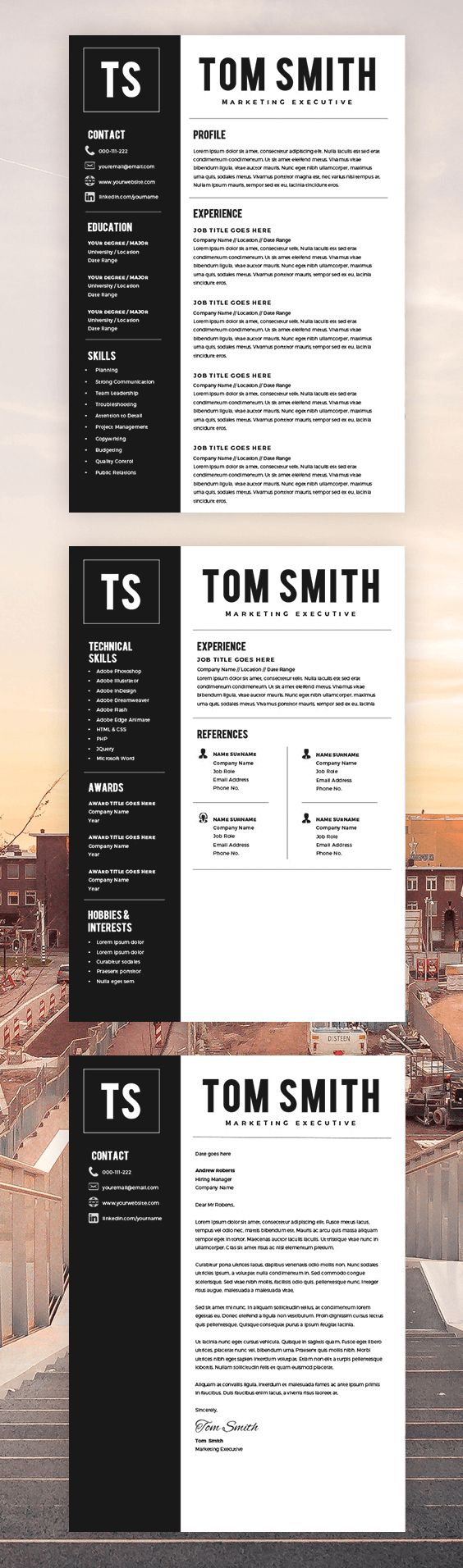 two page resume template - resume builder - cv template   cover letter   pc