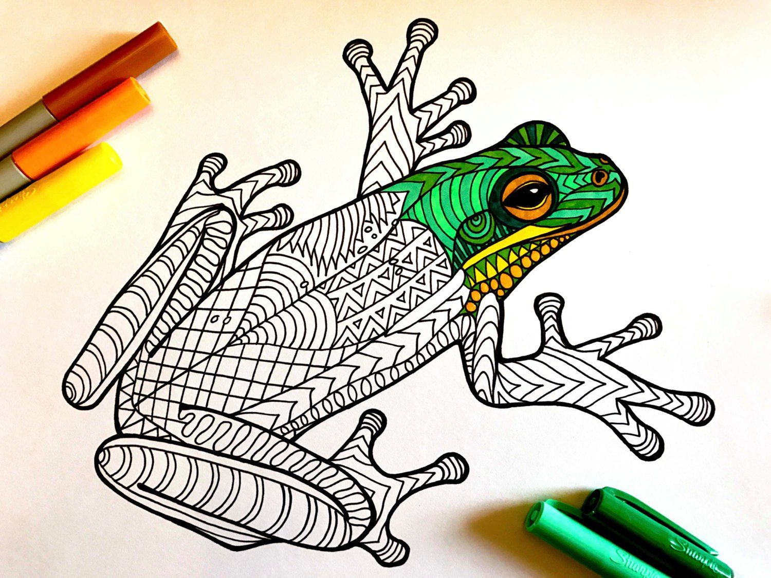 Frog PDF Zentangle Coloring Page Coloring pages