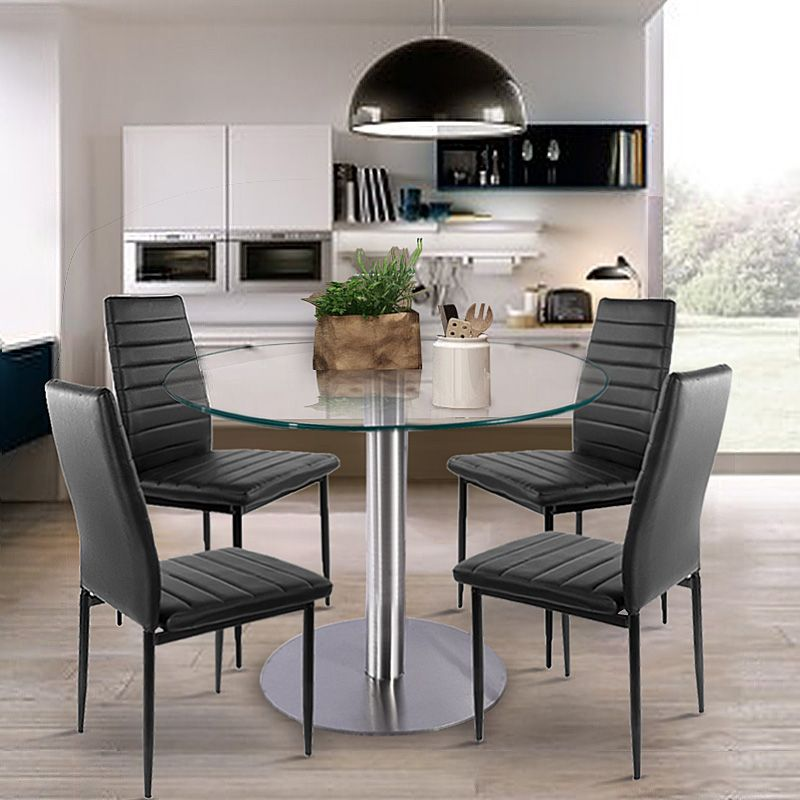 Glass Dining Set Round Dining Table With 4Pcs Dining Chair Faux Pleasing Round Dining Room Table For Sale Design Ideas