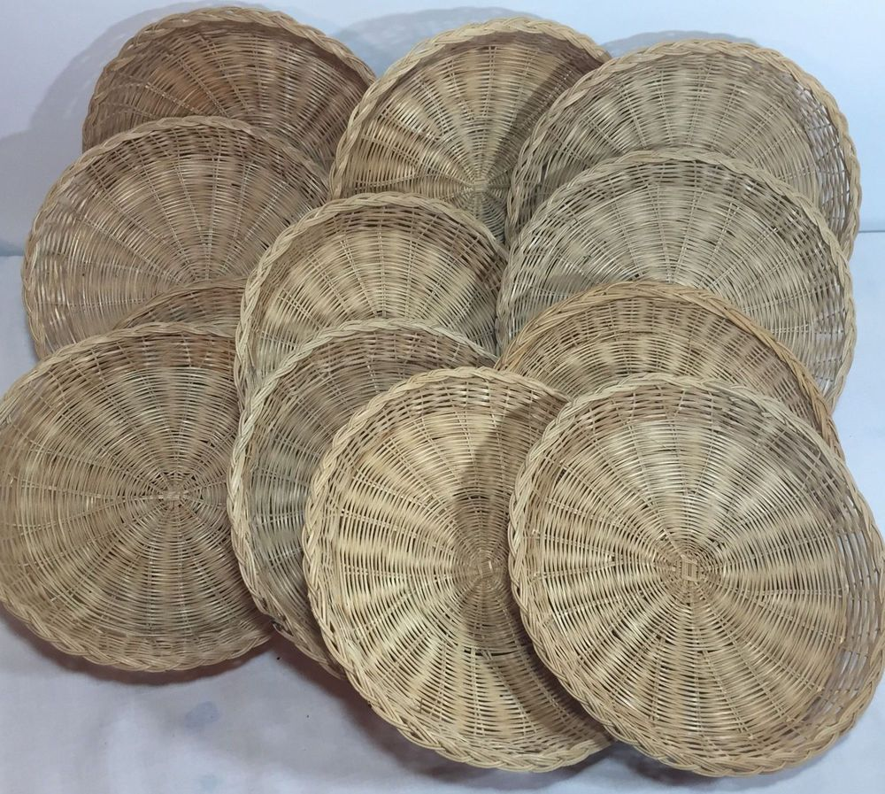 12 Wicker Bamboo Straw Rattan Paper Plate Holders C&ing Picnic RVs Home & 12 Wicker Bamboo Straw Rattan Paper Plate Holders Camping Picnic RVs ...