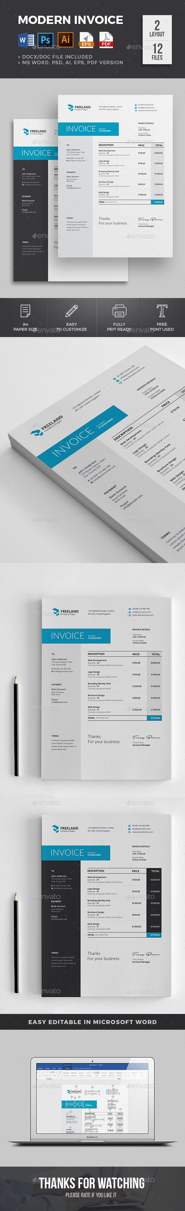 Invoice Template PSD Vector EPS AI Illustrator