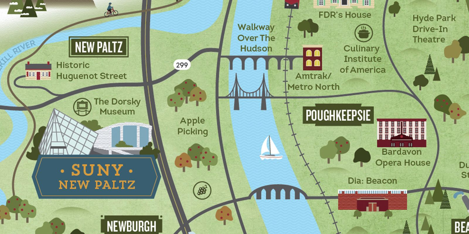 SUNY New Paltz Illustrated Tourism Map Detail | Cinder Design Co ...