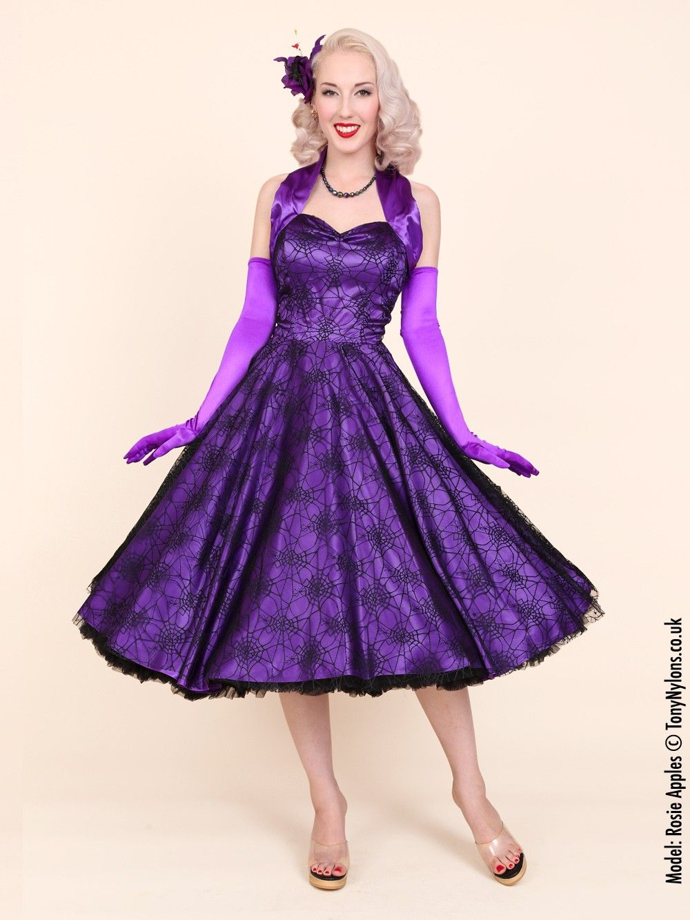 1950s Halterneck Luxury Purple Satin Spiderweb Dress | Trick or ...