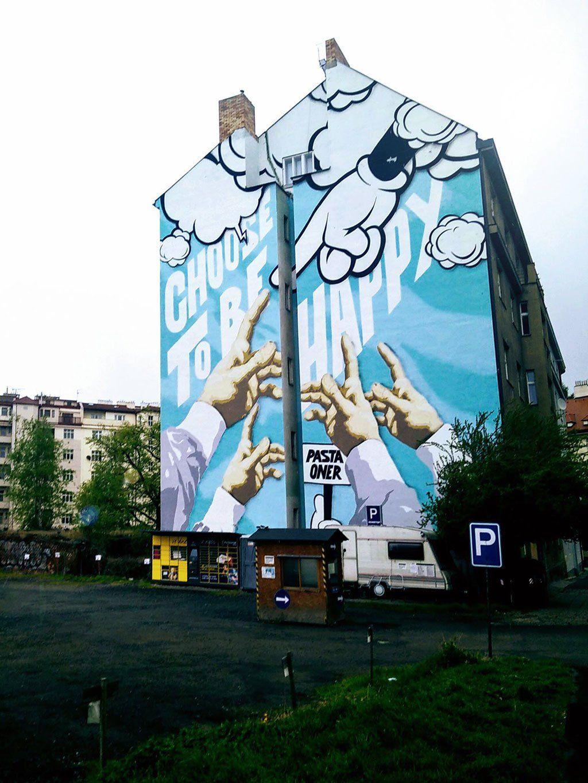 Big mural ucchoose to be happyud in prague streetart pinterest