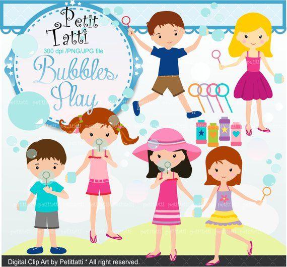 On Sale Girls Clip Art Summer Activity Kids Clip Art Soap Bubbles