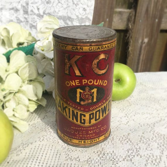 Antique KC Baking Powder Tin Can UNOPENED Decorative Advertising Canister kitchen storage decor retro spice paper & Antique KC Baking Powder Tin Can UNOPENED Decorative Advertising ...