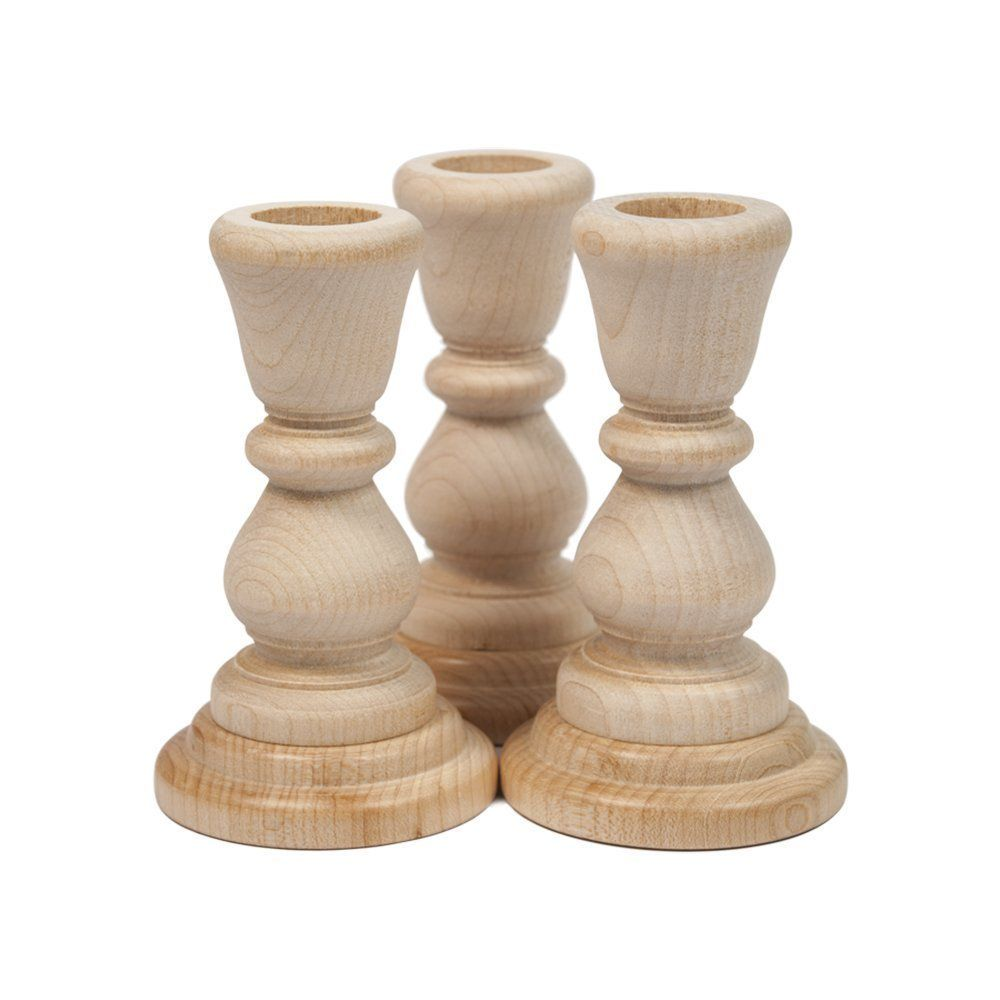 Amazon Com Woodpeckers Unfinished Candlesticks Wooden 4 4 Wood Candle Sticks Wooden Candle Sticks Wooden Candle Holders