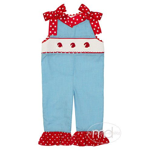 4f74b9a5631 Three Sisters Smocked Santa Hats Girls Romper from Madison-Drake Children s  Boutique