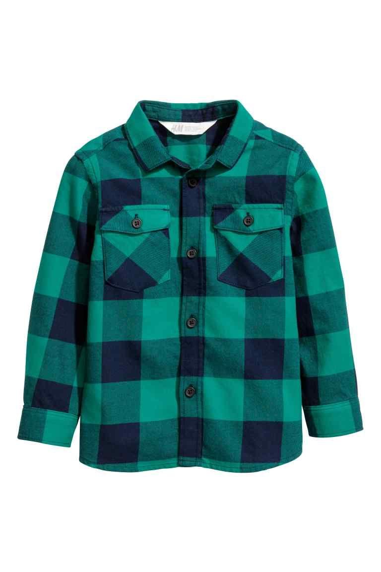Groen Geruit Overhemd.Flanellen Overhemd H M Children Flannel Shirt Blue Checkered