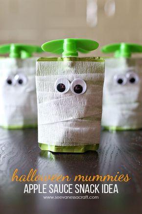 Halloween: Mummy Apple Sauce Snack Idea - See Vanessa Craft #halloweentreatsforschool