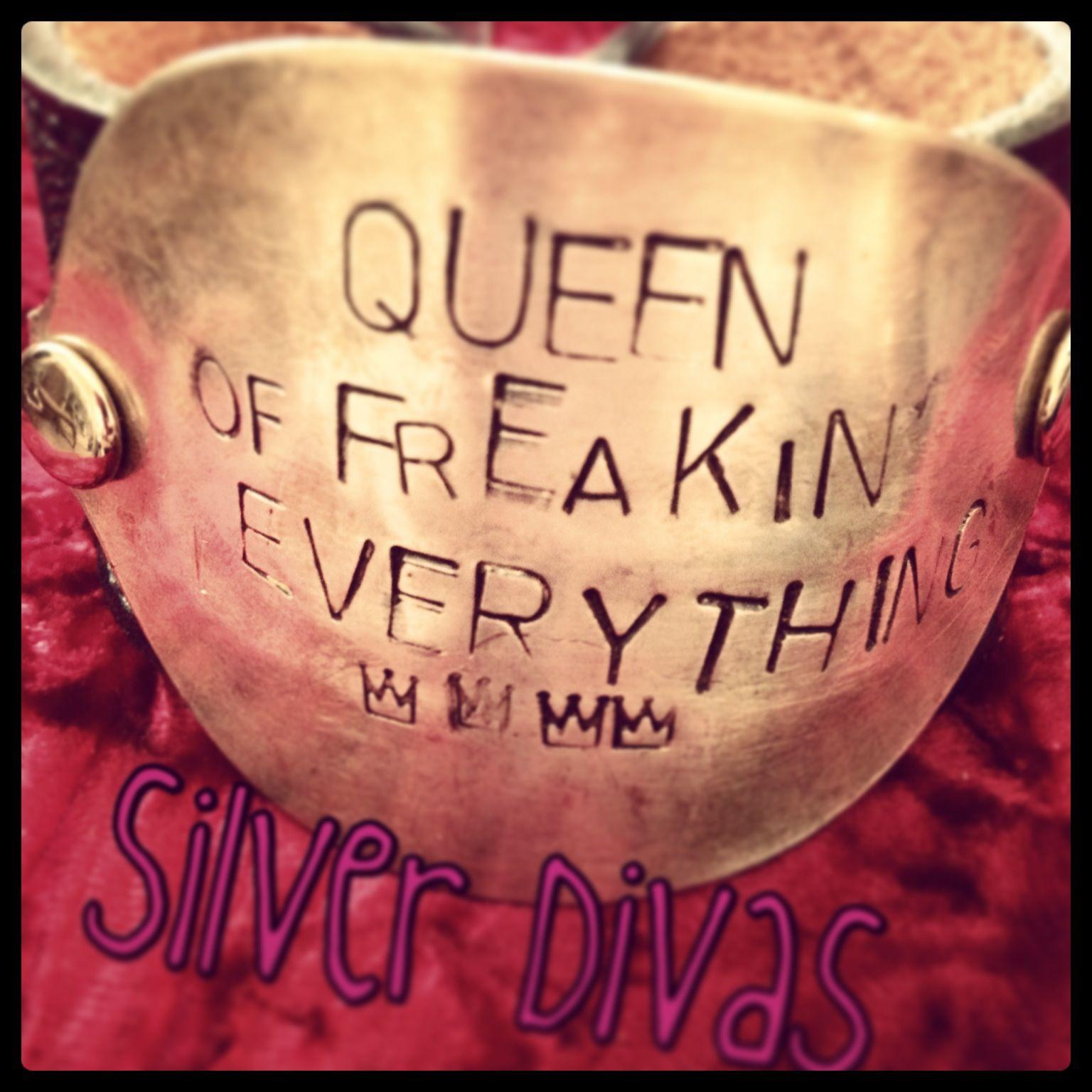 Queen of freakin everything vintage spoon and recycled western belt bracelet $30. Find us on Facebook!