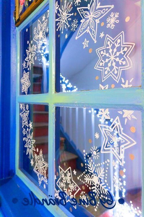 fenster deko weihnachten  kreidestift fenster weihnachten