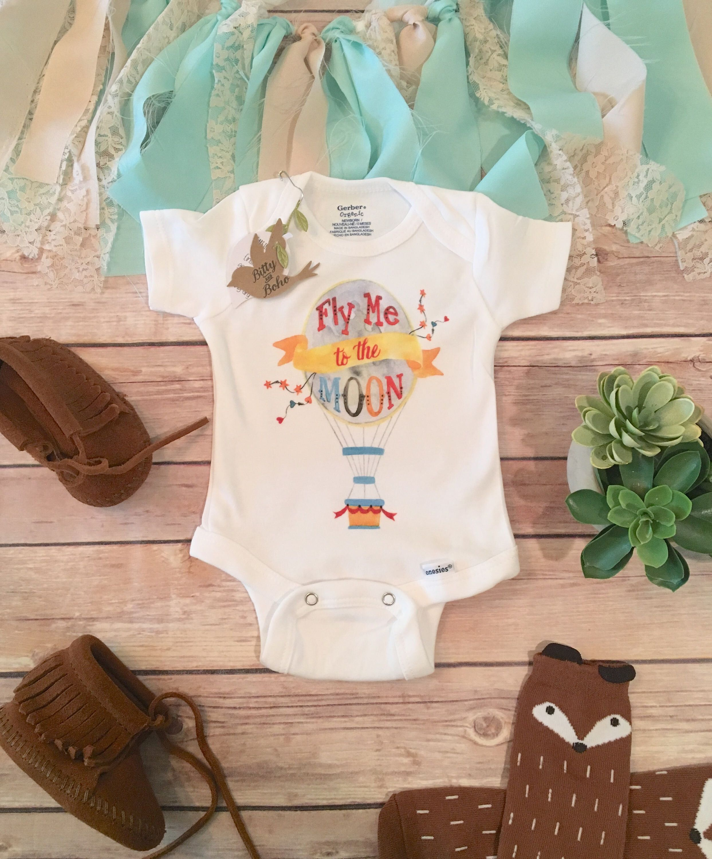 Fly Me To The Moon esie Baby Boy Clothes Baby Shower Gift Cute