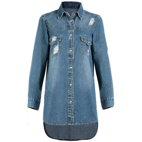 Yoins Blue Lapel Long Sleeve Denim Jacket-Blue  One Size (41 CAD) ❤ liked on Polyvore featuring outerwear, jackets, blue and denim jackets