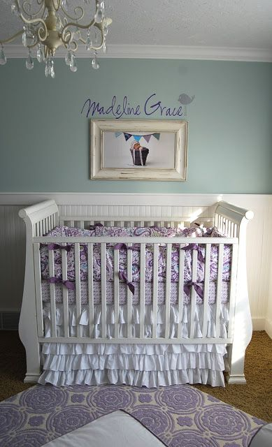 Lovely Lavender and Gray Crib Bedding