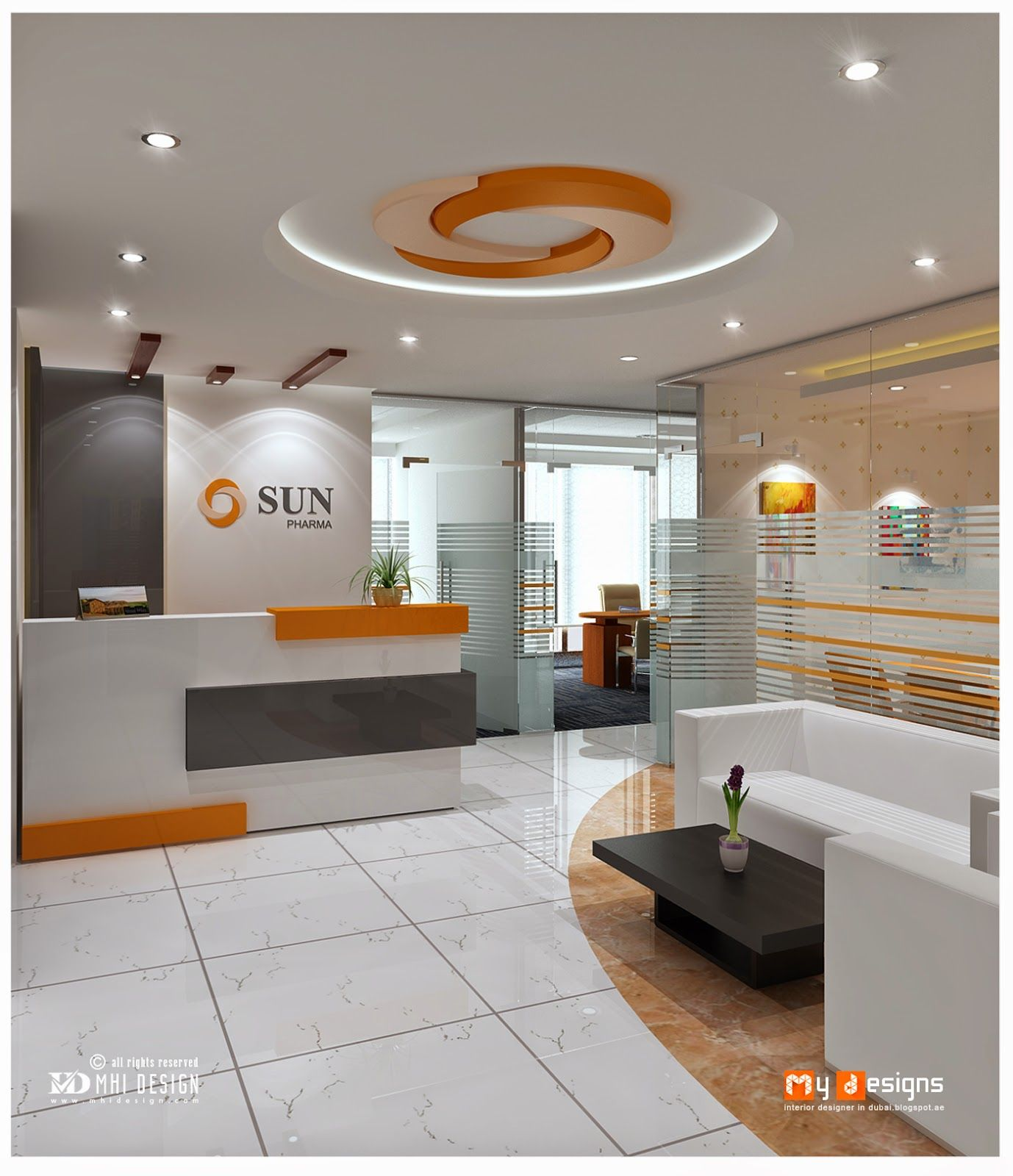 Reception design proposal for sun pharma one of mhi design for Office design 3d max