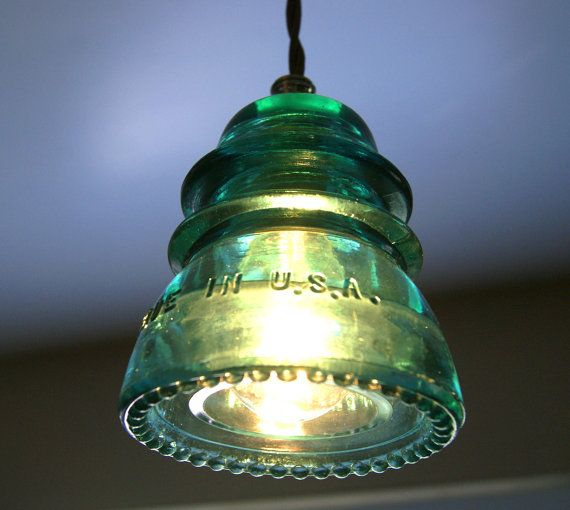 Antique Insulator Pendant Light Blue/Green By