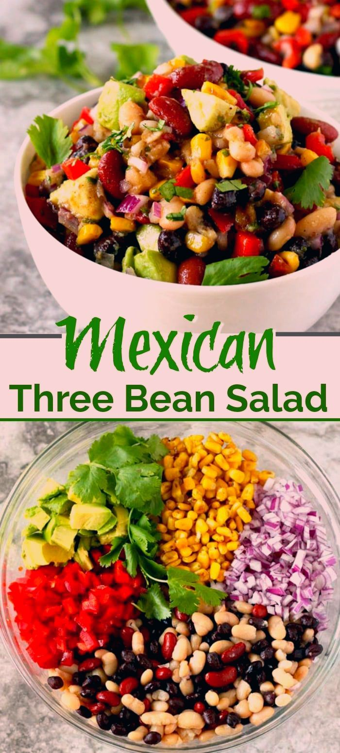 This Mexican Three Bean Salad is quick, easy and the perfect make-ahead bean salad to serve at dinner parties and potlucks. This protein-rich Three Bean Salad is loaded with Mexican flavors and always a favorite! #easy #potluck #recipe #3beansalad #healthy #vegetarian #Mexican