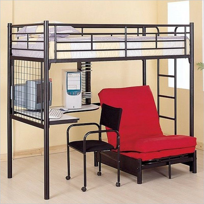 Coaster Max Twin Over Futon Metal Bunk Bed with Desk in