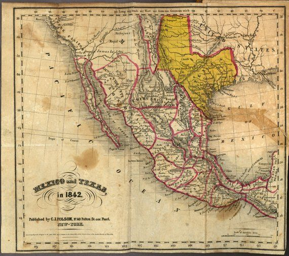 Mexico 1842, Ancient map, World map poster, Wall world map, Ancient ...