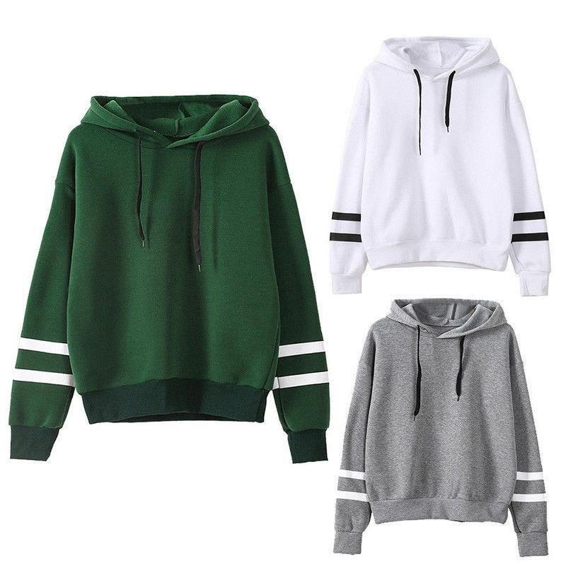 Women Raglan Sleeve Crop Top Teen Girls Round Neck Stripe Sweatshirt Jacket Sweater Jumper Pullover