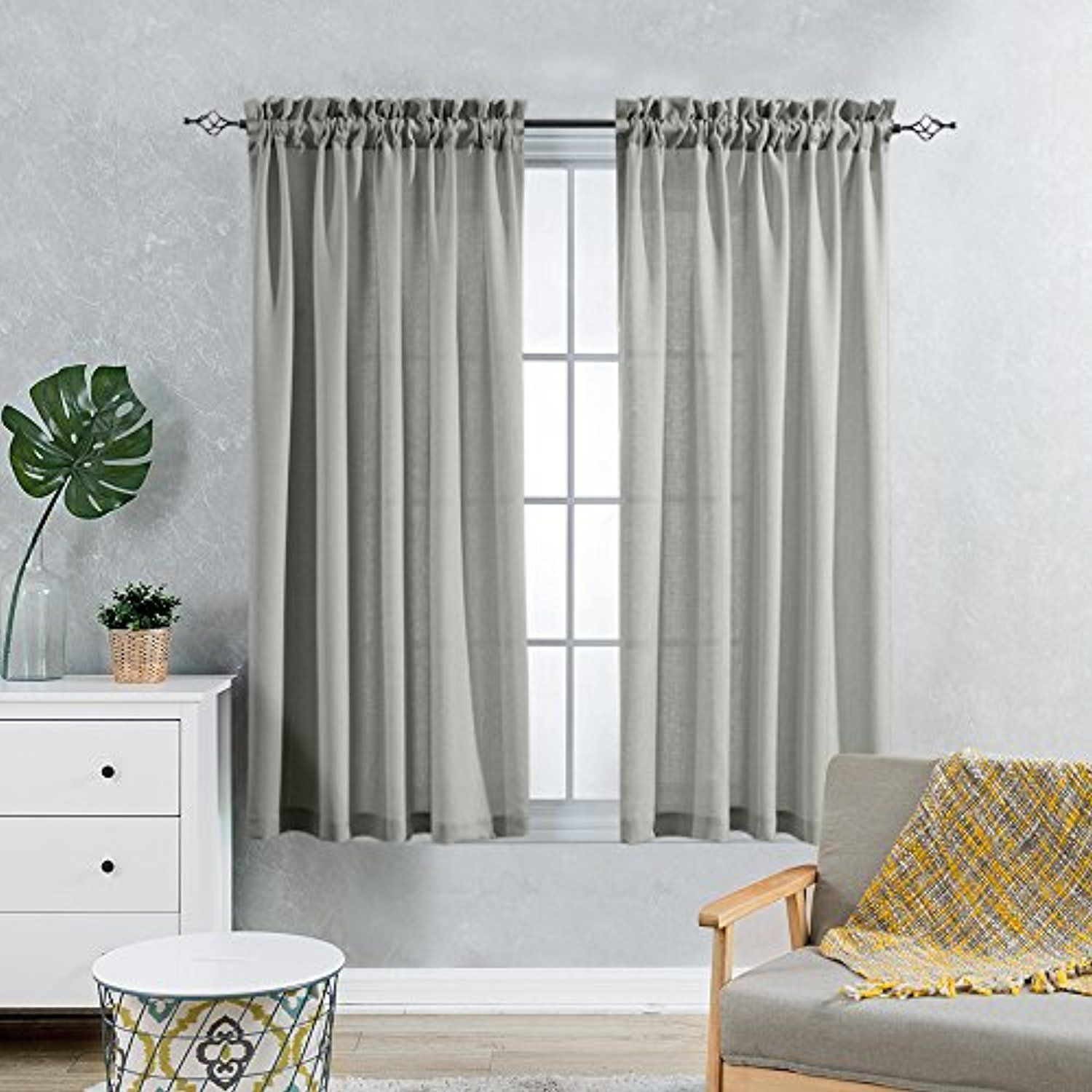 Grey Voile Curtains For Living Room Semi Sheer Window Curtain Panels Sheers For Bedroom 72 Inch Length Casual Curtains Living Room Gray Sheer Curtains Curtains