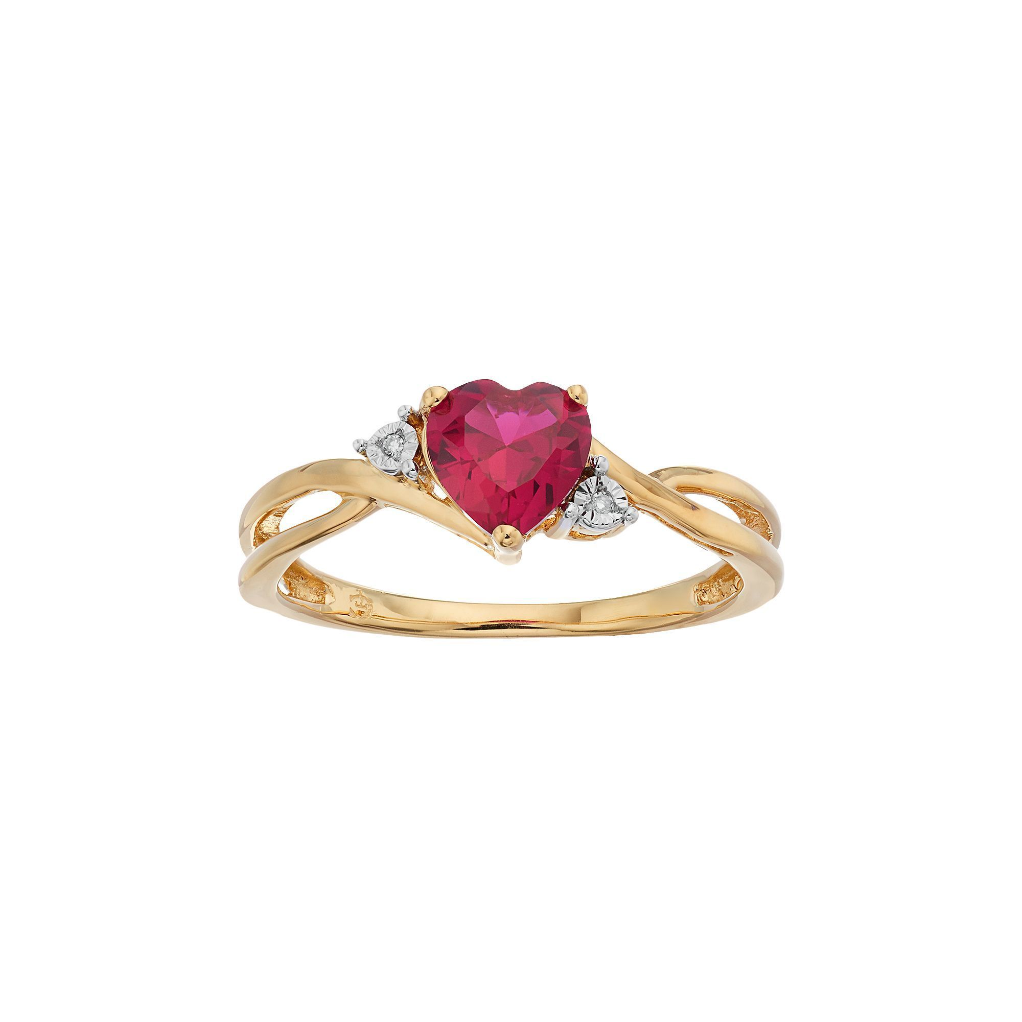 10k Gold Lab Created Ruby Diamond Accent Swirl Heart Ring Women S Size 8 Red Gold Heart Ring Heart Shaped Ruby Rings