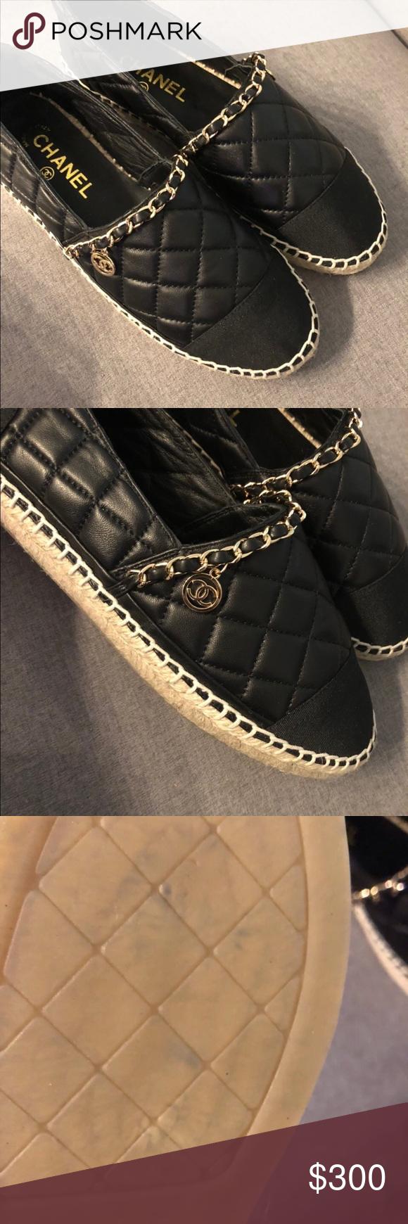 1d04169d91b Chanel espadrilles Chanel chain   CC logo charm black espadrilles. Genuine  leather