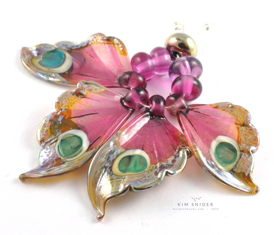 Lampwork butterfly wings by bead artist kim snider 2016
