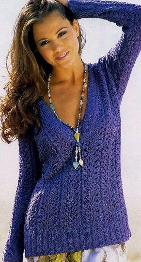 Пуловер спицами схемы | KnitBox | Pinterest | Pullover stricken ...