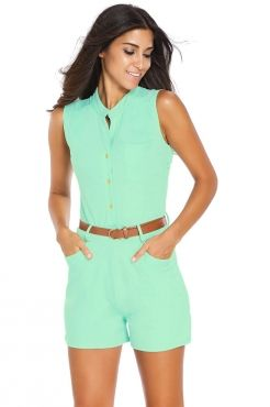 8c8023485b21 Turquoise Button Front Belted Romper