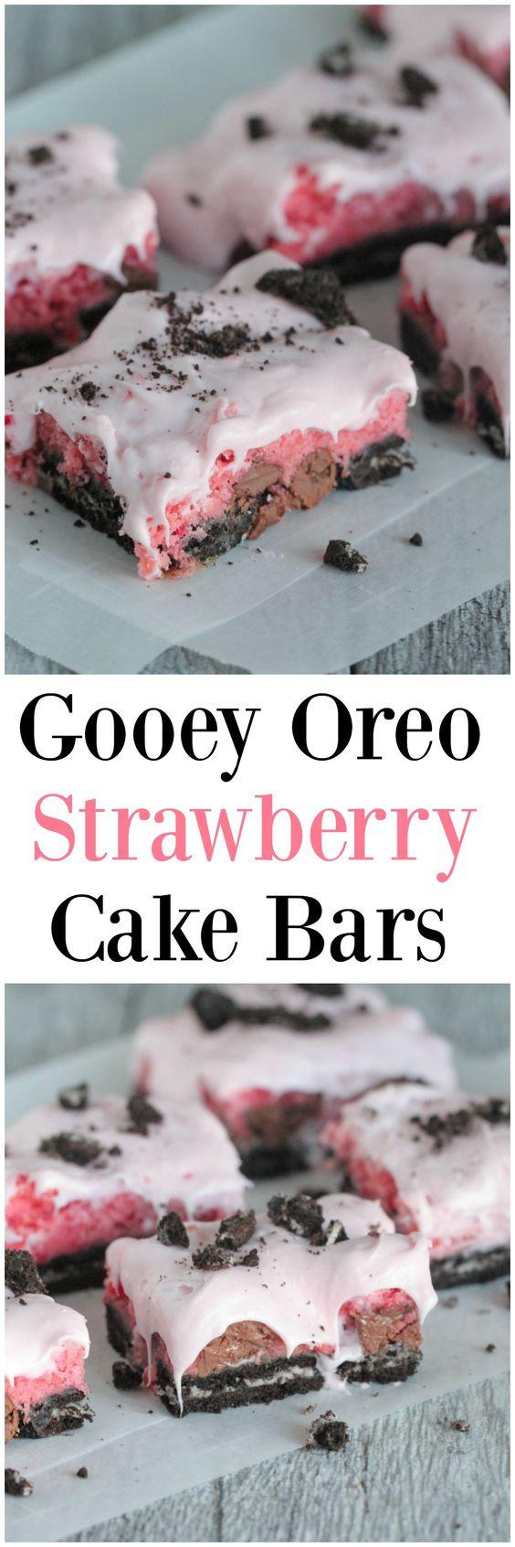Gooey Oreo Strawberry Cake Bars ~ Picky Palate