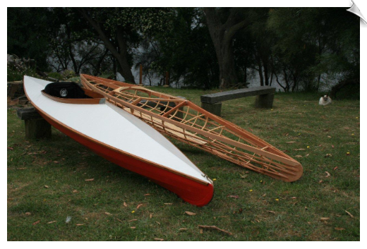 skin on frame kayak pbk15 on left and a pbk57 frame on the right