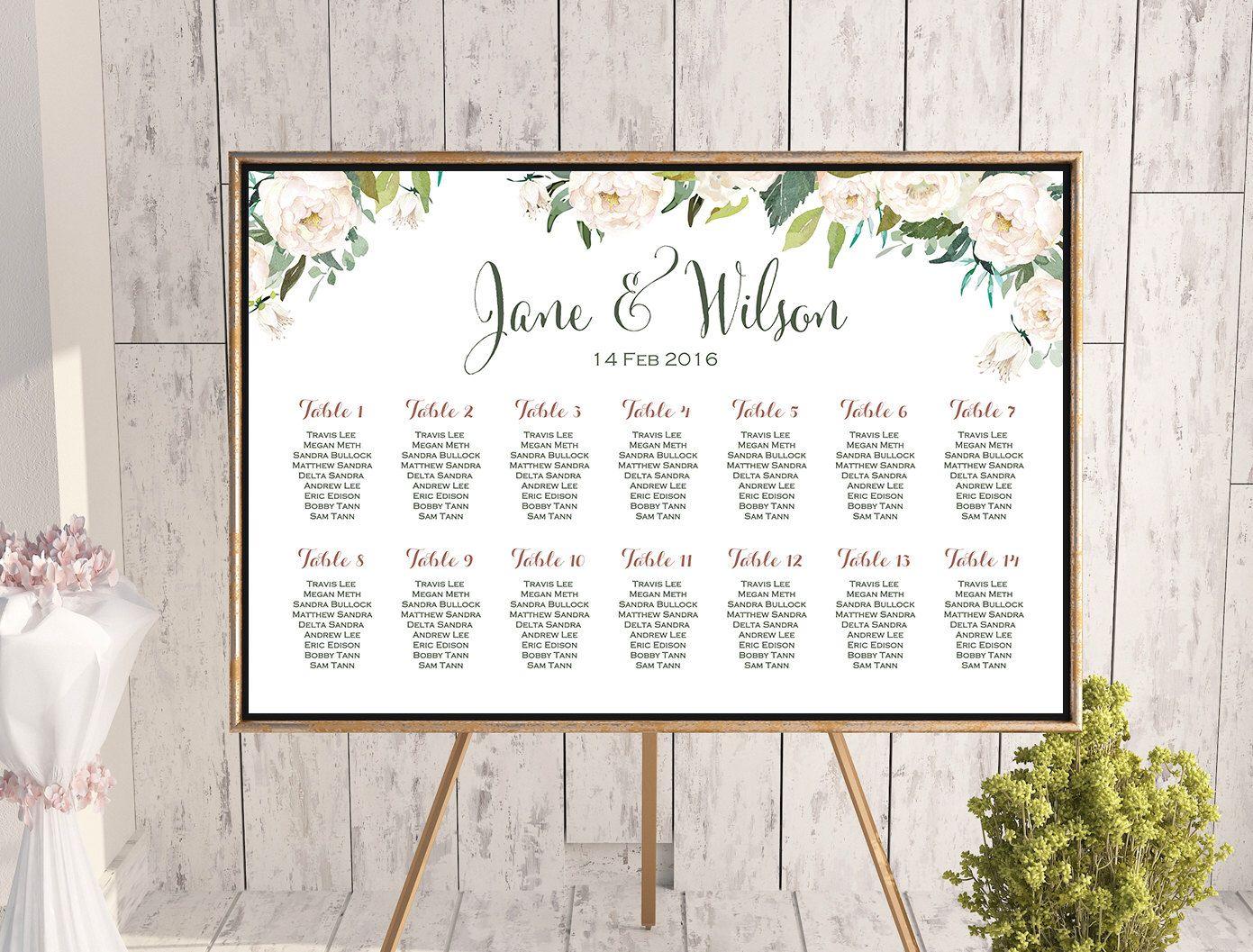 Wedding Seating Chart, White Ivory Flower Printable Custom