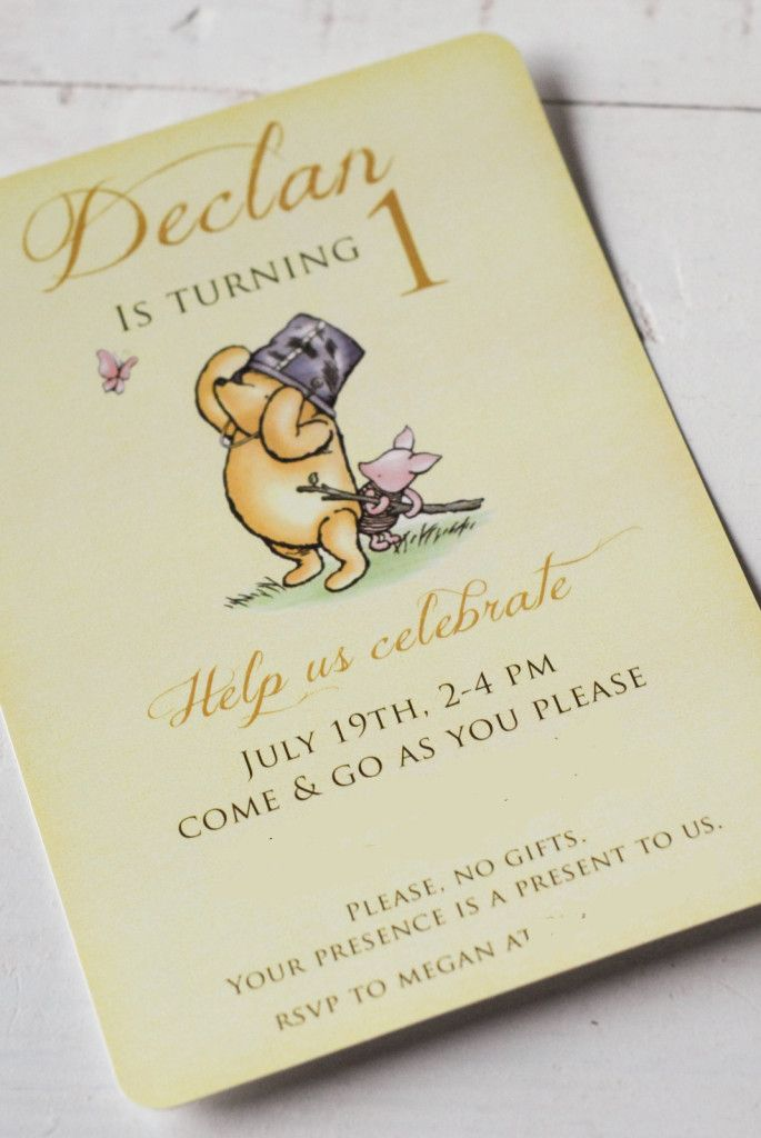 project nursery winnie the pooh 1st birthday invitation