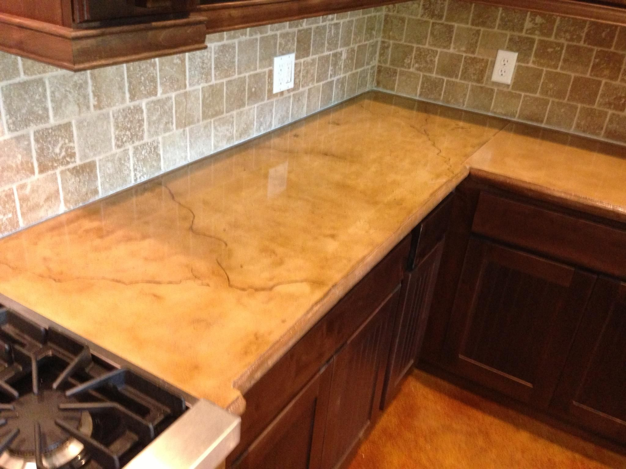 Stained Concrete Countertop With Veining