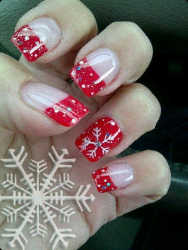 70+ Festive Christmas Nail Art Ideas | Red french manicure, Manicure ...