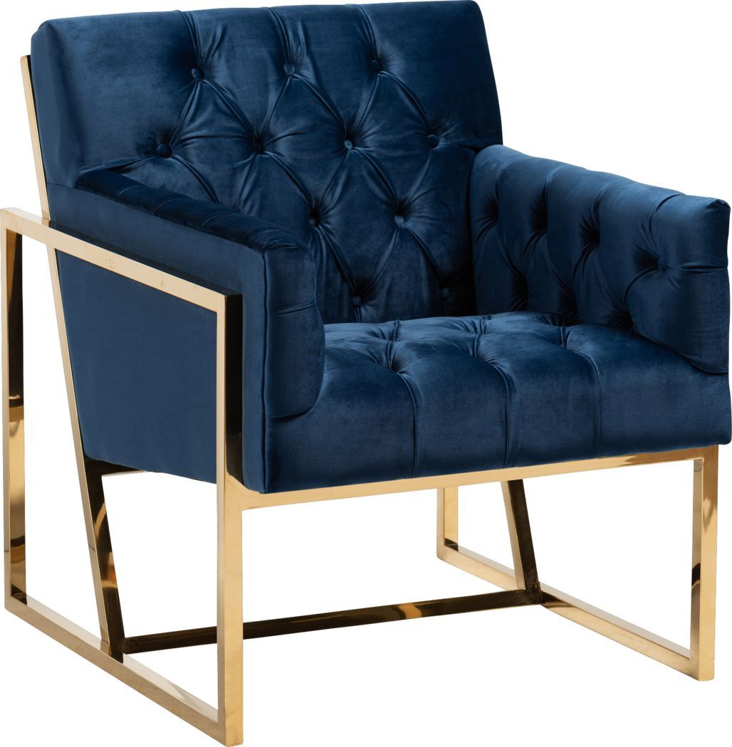 Mesbury Navy Accent Chair Navy Accent Chair Accent Chairs Gold