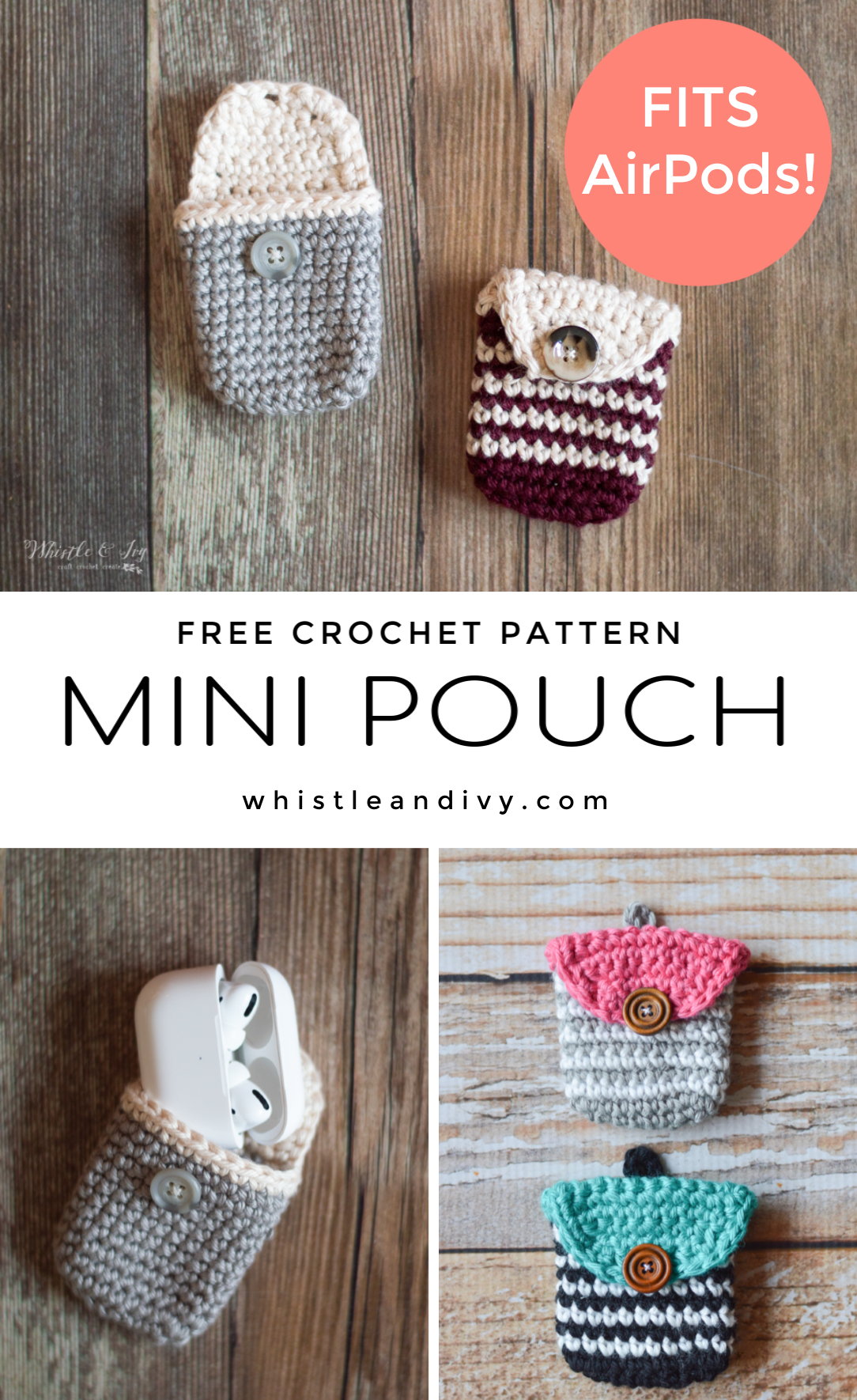 Crochet Coin Pouch/Crochet AirPods Pouch – Free Crochet Pattern