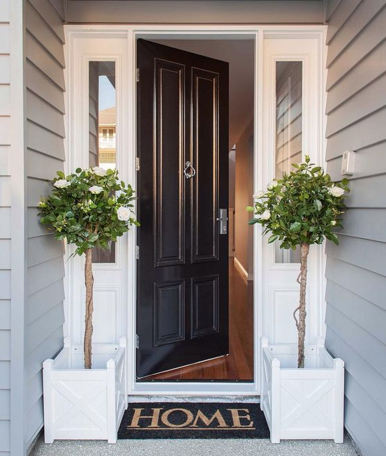 Weekend Decorating Idea Update Your Front Door Ashlina Kaposta House Exterior Outdoor Entryway Front Door Design